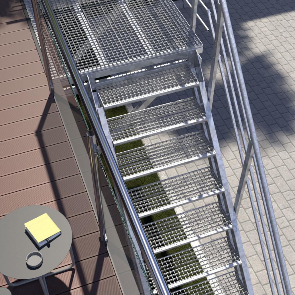 Aussentreppe mit Podest 10 Stufen Gitterrost Perspesktive 02