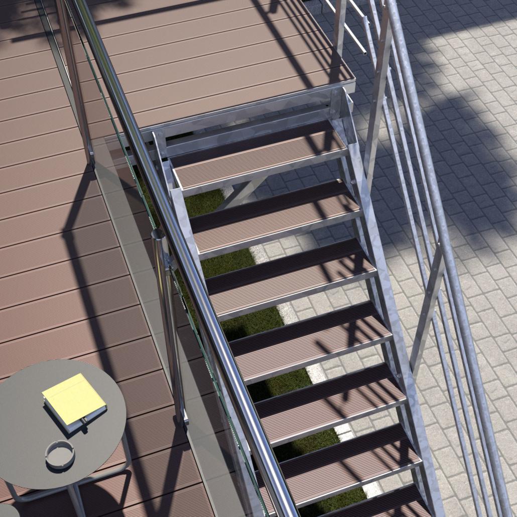 Aussentreppe mit Podest 10 stufen WPC Stufenbelag Braun Perspektive 02