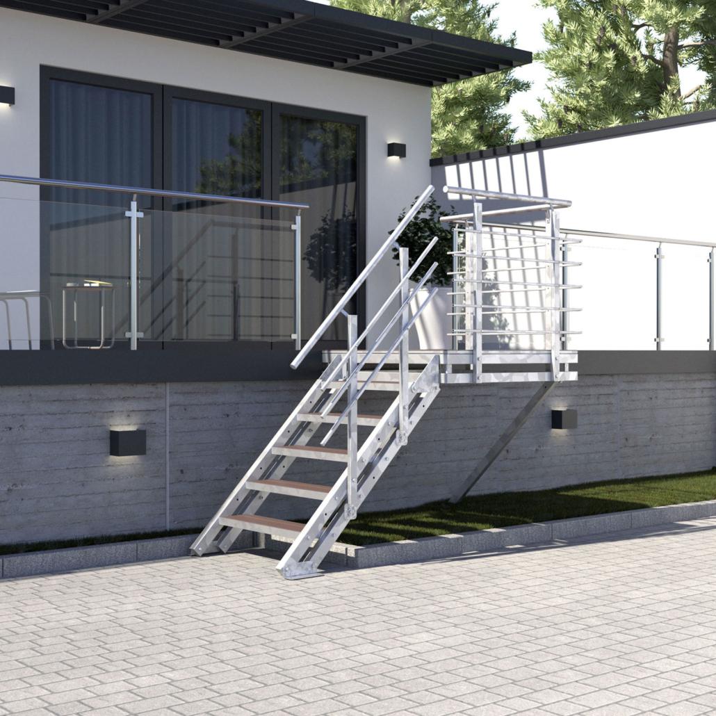 Aussentreppe Podesttreppe 5 Stufen WPC Stufen Braun Perspektive 01