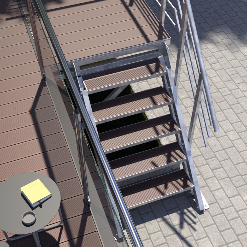 Aussentreppe Podesttreppe 5 Stufen WPC Stufenbelag Braun Perspektive 02
